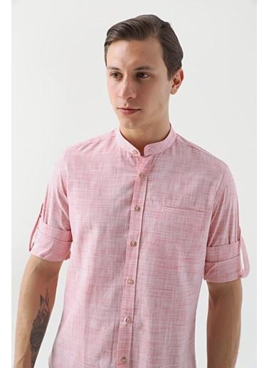 TWN Slim Fit Çizgili Gömlek Kırmızı
